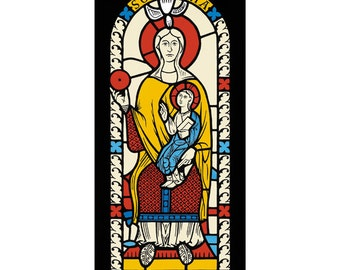 Mary and Jesus Medieval Stained Glass Window, silkscreen print