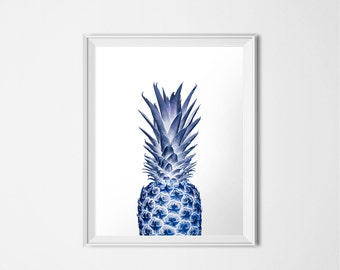 Blue Pineapple Print, 11x14 INSTANT DOWNLOAD, Printable Kitchen Art, Modern Print, Blue Nursery Decor, Tropical Fruit Print, 11 x 14 Poster