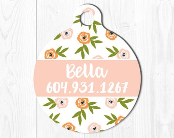 Pet Tags Pet ID Tag Cat ID Tag Pet ID Tag Cat Dog Tag Pet id Tag Pet Gift Pet Tags Floral Dog Tag for Dogs Dog id Tag Custom Pet id Tag Pink