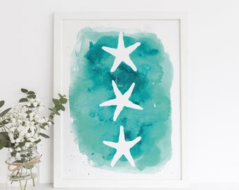 Beach Print, Starfish Print, Beach Decor, Printable Art, Sea Star Artwork, Teal Art Print, Instant Download Art, Wall Printables Digital Art