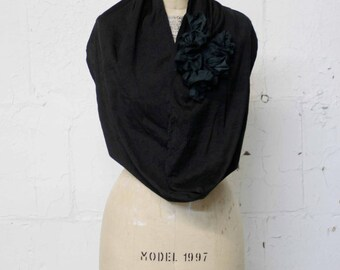 Women's Black Silk Ruffle Circle Scarf,  Black Infinity Scarf, Ruffles, Fashion, Gifts for Her