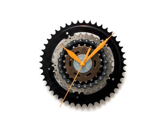 Black Wall Clock, Unique Bike Wall Clock, Industrial Wall Clock, Unique Wall Clock, Large Wall Clock, Bicycle Clock, Steampunk Wall Clock