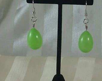 Green easter egg earrings