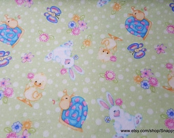 Flannel Fabric - Easter Ducks and Bunnies - By the yard - 100% Cotton Flannel