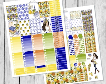 Lemon Planner Sticker Happy Planner Printable / Happy Planner Sticker Printable / Spring Printable Planner Stickers / Summer Sticker Kit