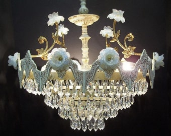White Crystal Chandelier Opaline Gold Murano Flowers One of a Kind Venetian Chandelier Wedding Cake Waterfall Chandelier Lighting DD 1024