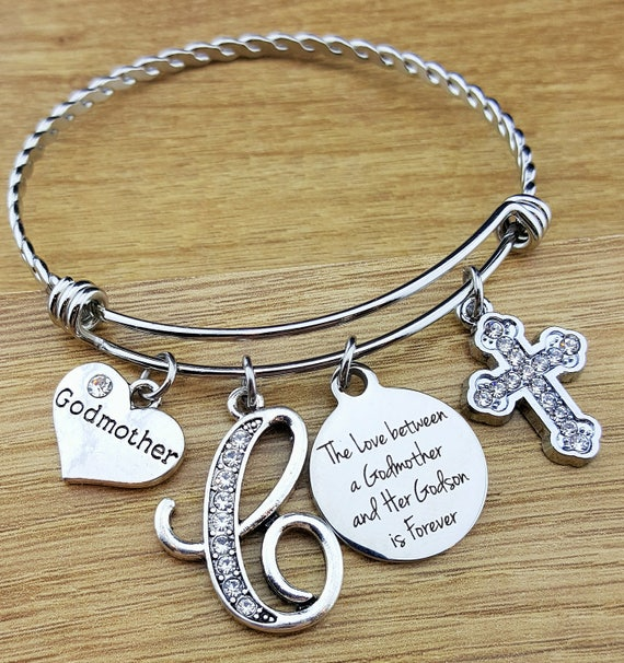 gifts huge godmothers initial birthstone jewelry bracelet shop charm bangle gift deal for mybluesnowflake on godmother etsy