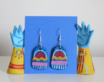 Blue pattern earrings