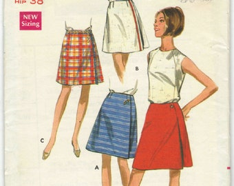 4689 Butterick - Misses A-line Wrap skirt  with variations - UNCUT sewing pattern Waist 27 Hip 38 - vintage 1960's