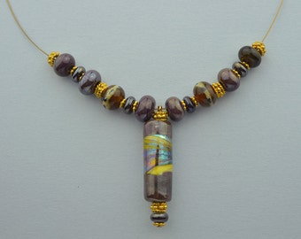 Handmade Lampwork Bead Necklace, Dark Silver Plum