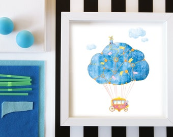Nursery Print, Hot Air Balloon Nursery, Travel Theme, Air Balloon Baby Shower, Adventure Nursery, Hot Air Balloon Print, Balloon Wall Art
