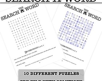 Word Search Puzzles – Deuteronomy 6:4 & 5