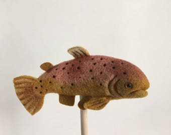Trout Sculpture. Angler Gift. Trout Decor. Lake House Decor. Dad Office Art. Needle Felted Trout. Fish Gift. Fisherman Gift. Trout Gift.