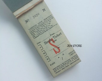 Vintage Old British UK bus tickets with carbon paper 5 sets - mixed media, collage, paper ephemera
