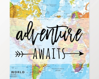 Adventure Awaits, Art Print, Wall Decor, Map Art, Graduation Gift, Gift for Dad, Dorm Decor, Watercolor Map