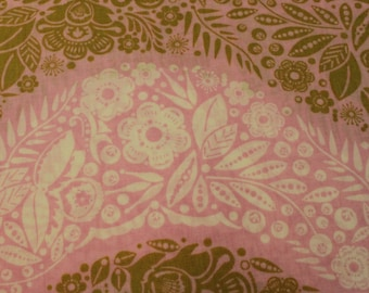 Little Folks Voile by Anna Maria Horner Village Path in Sweet Cotton Fabric / Fabric by Yard / New Fabric / Sewing Supplies / Pink and Gold