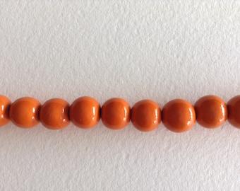 Round beads painted Orange wood