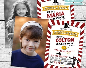 Magic Birthday Party Pack - Printable photo invitation and party decor (Red and Gold)