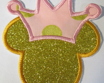 Princess Mouse Heads - Iron On or Sew On Embroidered Custom Made Appliques