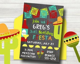 Fiesta Birthday Party Invitation - Mexican Invitation - Fiesta Party Invitation - PRINTABLE - 21st Birthday Invitation - Adult Birthday