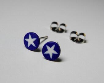 Little Millefiori White Star Post Earrings