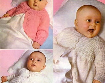 BABY KNITTING  Pattern for baby matinee jackets.  0/6m  quick knit  chest instant download