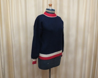 Vintage Handmade 70s Wool Tight Knit Navy White and Red Women's Jumper Sweater