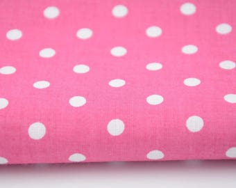 100% cotton fabric piece 160 x 50 cm, textile printing, 100% polka dots cotton white 7mm on bottom