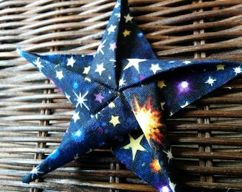 Glow in the Dark Galaxy Cotton Fabric Origami  Star Ornament