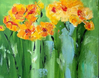 Spring Wood Poppies *****  12 by 12 inch oil on canvas