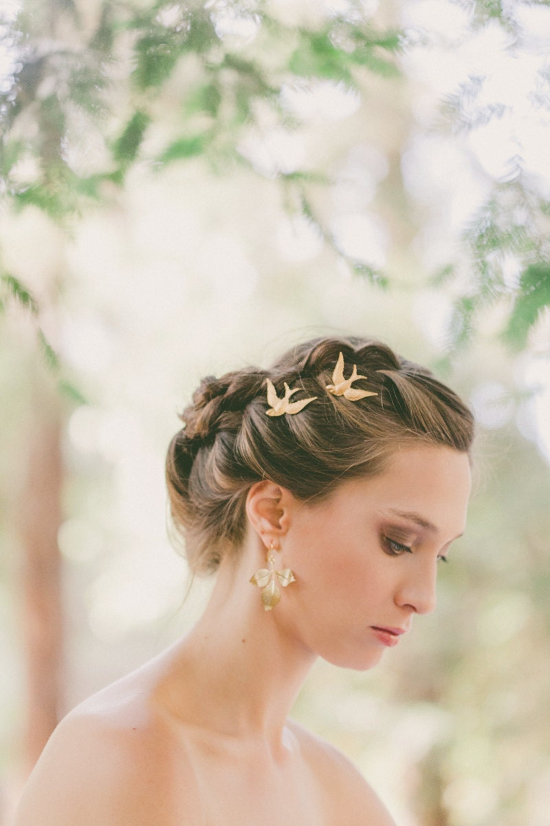 gold bird bobby pins bird hair pins bird hair clips wedding
