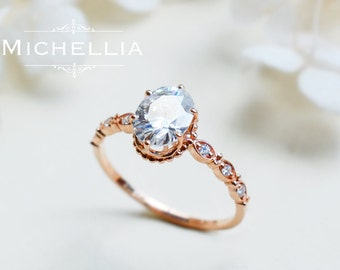 Vintage Inspired Oval Ring in Moissanite, Forever One Moissanite Oval Engagement Ring, Available in 14K Gold, 18K Gold, or Platinum, R5001