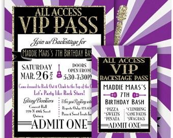 Vip pass invitation glitz glamour rock star party printable vip pass invitation glitz glamour rock star party printable invitation 5x7 vip fashion party glam stopboris Images