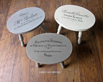 French Graphic Small Stools~Price is for ONE stool