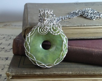 Green Jade Stone Sterling Silver Wire Wrapped Pendant