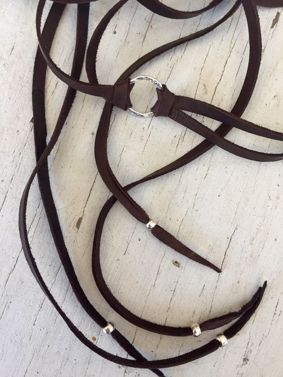 Bojo Mojo Choker. Deerskin leather with hand-forged ring long tail choker by ladeDAH! Jewelry.