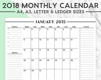 New! 2018 MONTHLY WALL CALENDAR | A4, A3, Letter, Ledger, 2018 Planner, 2018 Calendar, 2018 Monthly Calendar, Instant Download