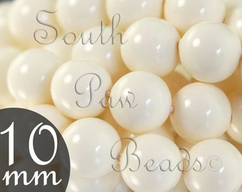 10mm Swarovski crystal pearl beads Ivory Style 5810 Glossy finish 10mm round bead (10)