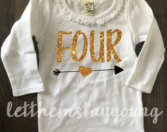 Birthday shirt long sleeve Birthday shirt  Baby Girl Shirt Baby Girl Custom four years old Gold Pink Glitter Birth Day