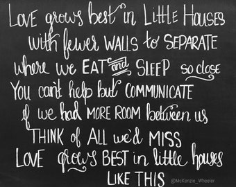 Hand Lettered Chalkboard Print - Love Grows in Little Houses - Digital File, 5x7 & 8x10 - Quote Print - Family Print