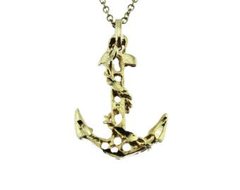 Vintage Gold Anchor Pendant Necklace, Gold Pendant Necklace, Thin Gold Chain Necklace with Gold Anchor Pendant, Gold Anchor Necklace