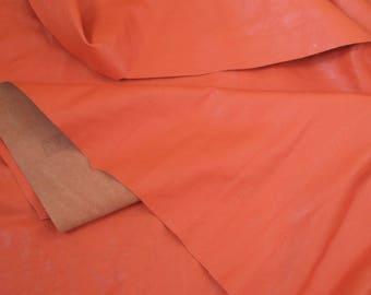 orange thin leather - genuine sheepskin hide - italian quality natural leather - sample scrap piece (P-11)