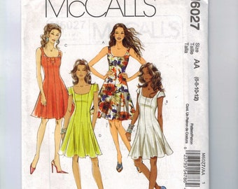 Misses Sewing Pattern McCalls M6027 6027 Misses Princess Seam Scoop Neck Fit and Flare Dress Size 6 8 10 12 Bust 30 31 32 34 UNCUT