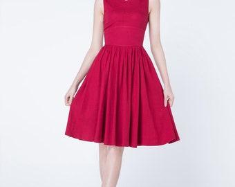 A-line dresses, red dress, linen dress, short dress, high waisted dress, fit and flare dress, sleeveless dress, tank top dress 1733