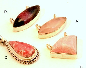 Small Pink Pendant. Sterling Silver. Rhodochrosite or Rose Quartz. free US ship  26.00 ea