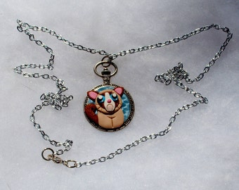 Grumpy Cat Metal Necklace