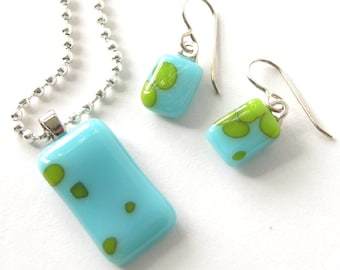 Ocean Blue & Lime pendant and tiny fused glass earrings - turquoise and bright spring green - reactive glass -  Set