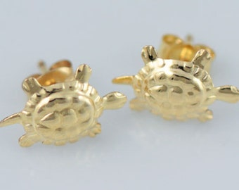 Gold Filled Turtle Stud Earrings, Gold Post Studs, Animals, Sealife Earrings, Simple, Dainty Earrings, Gold Animals Earrings, GFER14