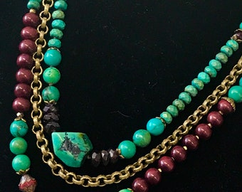 Turquoise Multi Strand Necklace   Tribal