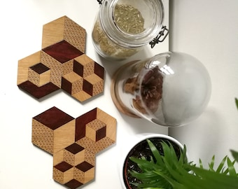 Set of 6 coasters loving pattern hand painted oak cube